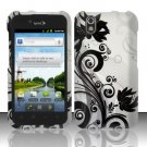 Hard Plastic Rubber Feel Design Case for LG Marquee LS855 - Silver and Black Vines