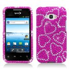 Hard Plastic Bling Design Case for LG Optimus Elite (Sprint/Virgin Mobile) – Hot Pink Hearts