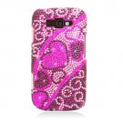 Hard Plastic Bling Rhinestone Design Case for Samsung Focus 2 i667 (AT&T) - Hearts Flow