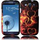 Hard Plastic Rubberized Design Case Cover for Samsung Galaxy S3 III – Gold Hearts