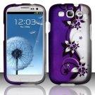 Hard Plastic Rubberized Design Case Cover for Samsung Galaxy S3 III – Silver & Purple Vines