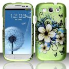 Hard Plastic Rubberized Design Case Cover for Samsung Galaxy S3 III – Green Flower & Butterfly