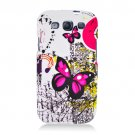 Hard Plastic Rubberized Design Case Cover for Samsung Galaxy S3 III – Dual Pink Butterfly