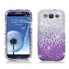 Hard Plastic Bling Rhinestone Snap On Cover Case for Samsung Galaxy S3 III – Purple Waterfall