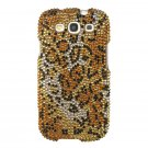 Hard Plastic Bling Rhinestone Snap On Cover Case for Samsung Galaxy S3 III – Golden Leopard