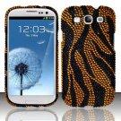 Hard Plastic Bling Rhinestone Snap On Cover Case for Samsung Galaxy S3 III – Golden Zebra