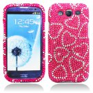 Hard Plastic Bling Rhinestone Snap On Cover Case for Samsung Galaxy S3 III – Hot Pink Hearts