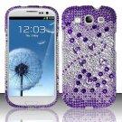 Hard Plastic Bling Rhinestone Snap On Cover Case for Samsung Galaxy S3 III – Purple Beats
