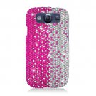 Hard Plastic Bling Rhinestone Snap On Cover Case for Samsung Galaxy S3 III – Silver & Pink