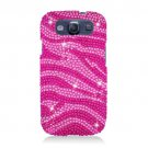 Hard Plastic Bling Rhinestone Snap On Cover Case for Samsung Galaxy S3 III – Hot Pink Zebra