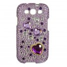 Hard Plastic Bling Rhinestone Snap On Cover Case for Samsung Galaxy S3 III – Purple Hearts