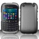Carbon Fiber Hard Plastic Rubberized Snap on Case BlackBerry Curve 9310/9320 (Verizon/Boost Mobile)