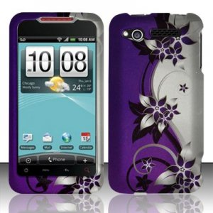 Hard Plastic Rubber Feel Design Case for HTC Merge 6325 - Silver and Purple Vines