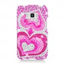 Hard Plastic Bling Design Case for LG Optimus Elite (Sprint/Virgin Mobile) – Dual Pink Hearts