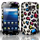 Hard Plastic Rubberized Snap On Design Case for Samsung Exhilarate i577 (AT&T) - Rainbow Leopard
