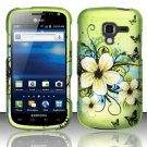 Hard Plastic Rubberized Snap On Design Case for Samsung Exhilarate i577 (AT&T) - Flowers & Butterfly
