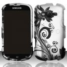 Hard Plastic Rubberized Snap On Case for Samsung Galaxy Reverb M950 (Sprint/Virgin) - Black Vines