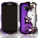 Hard Plastic Rubberized Snap On Case for Samsung Galaxy Reverb M950 (Sprint/Virgin) - Purple Vines
