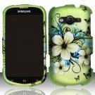 Hard Plastic Rubberized Snap On Case Samsung Galaxy Reverb M950 (Sprint/Virgin) - Flowers Butterfly