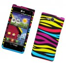 Hard Plastic 2 Piece Rubberized Snap On Design Case for LG Lucid 4G - Abstract Zebra