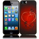 New Hard Plastic Rubberized Snap On Case Cover for Apple iPhone 5 – Red Heart Swirl