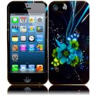 New Hard Plastic Snap On Design Case Cover for Apple iPhone 5 – Black and Blue Flower