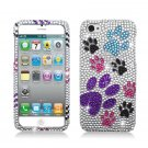 Hard Plastic Bling Rhinestone Snap On Case Cover for Apple iPhone 5 - Colorful Dog Paw