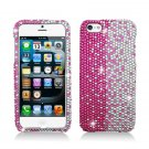 Hard Plastic Bling Rhinestone Snap On Case Cover for Apple iPhone 5 - Silver and Pink