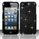Hard Plastic Bling Rhinestone Snap On Case Cover for Apple iPhone 5 - Black