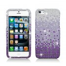 Hard Plastic Bling Rhinestone Snap On Case Cover for Apple iPhone 5 - Purple Waterfall