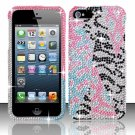 Hard Plastic Bling Rhinestone Snap On Case Cover for Apple iPhone 5 - Light Pink Safari