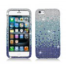 Hard Plastic Bling Rhinestone Snap On Case Cover for Apple iPhone 5 - Blue Waterfall