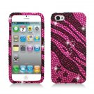 Hard Plastic Bling Rhinestone Snap On Case Cover for Apple iPhone 5 - Hot Pink Zebra Stars