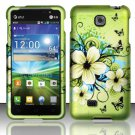 Hard Plastic Rubberized Snap On Case Cover for LG Escape P870 (AT&T) – Green Flowers & Butterfly