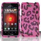 Hard Plastic Bling Rhinestone Design Case for Motorola Droid 4 (Verizon) - Hot Pink Leopard