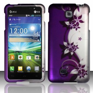 Hard Plastic Rubberized Snap On Case Cover for LG Escape P870 (AT&T) � Purple Vines