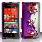 Hard Plastic Snap On Case Cover HTC Windows Phone 8X (Verizon/AT&T/T-Mobile) – Purple Vines