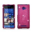 Hard Plastic Bling Case Cover for HTC Windows Phone 8X (Verizon/AT&T/T-Mobile) - Hot Pink