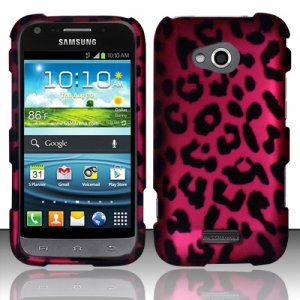 Hard Plastic Rubberized Snap On Case for Samsung Galaxy Victory 4G LTE (Sprint) - Hot Pink Leopard