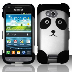 Hard Plastic Rubberized Snap On Case Cover for Samsung Galaxy Victory 4G LTE (Sprint) - Panda Bear
