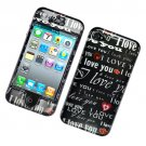 Hard Plastic Glossy Design Case Cover for Apple iPhone 4/4S - Black I Love You