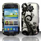 Hard Plastic Snap On Case Cover for Samsung Galaxy Stellar 4G i200 (Verizon) - Silver & Black Vines