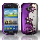 Hard Plastic Snap On Case Cover for Samsung Galaxy Stellar 4G i200 (Verizon) - Silver & Purple Vines