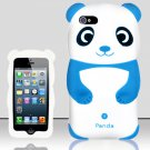 Panda Bear Soft Gel Rubber Skin Case Cover for Apple iPhone 5 6th Gen Phone - Light Blue