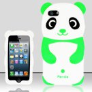 Panda Bear Soft Gel Rubber Skin Case Cover for Apple iPhone 5 6th Gen Phone - Green