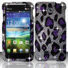 Hard Plastic Bling Rhinestone Snap On Case Cover for LG Escape P870 (AT&T) – Purple Leopard