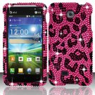 Hard Plastic Bling Rhinestone Snap On Case Cover for LG Escape P870 (AT&T) – Hot Pink Leopard