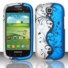 Hard Plastic Snap On Case Cover for Samsung Stratosphere 2 i415 (Verizon) - Silver & Blue Vines