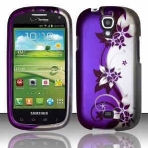 Hard Plastic Snap On Case Cover for Samsung Stratosphere 2 i415 (Verizon) - Silver & Purple Vines
