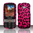 Hard Plastic Rubberized Snap On Case Cover for Samsung Array/Montage M390 – Hot Pink Leopard